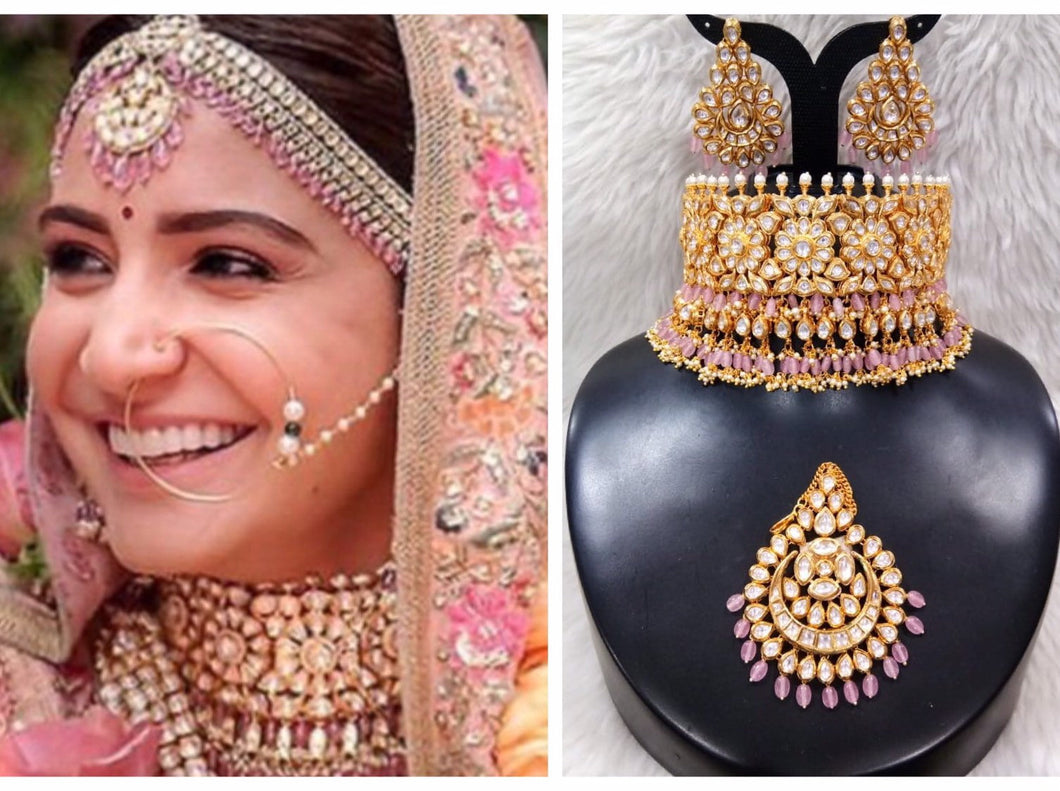 Anushka Sharma Wedding Jewellery Inspired Kundan Set - LebaasOnline