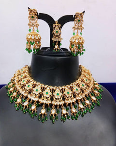 SABYASACHI Inspired-luxuriously handcrafted necklace jewellery set of REAL uncut polki kundans upon a silver foil base - LebaasOnline