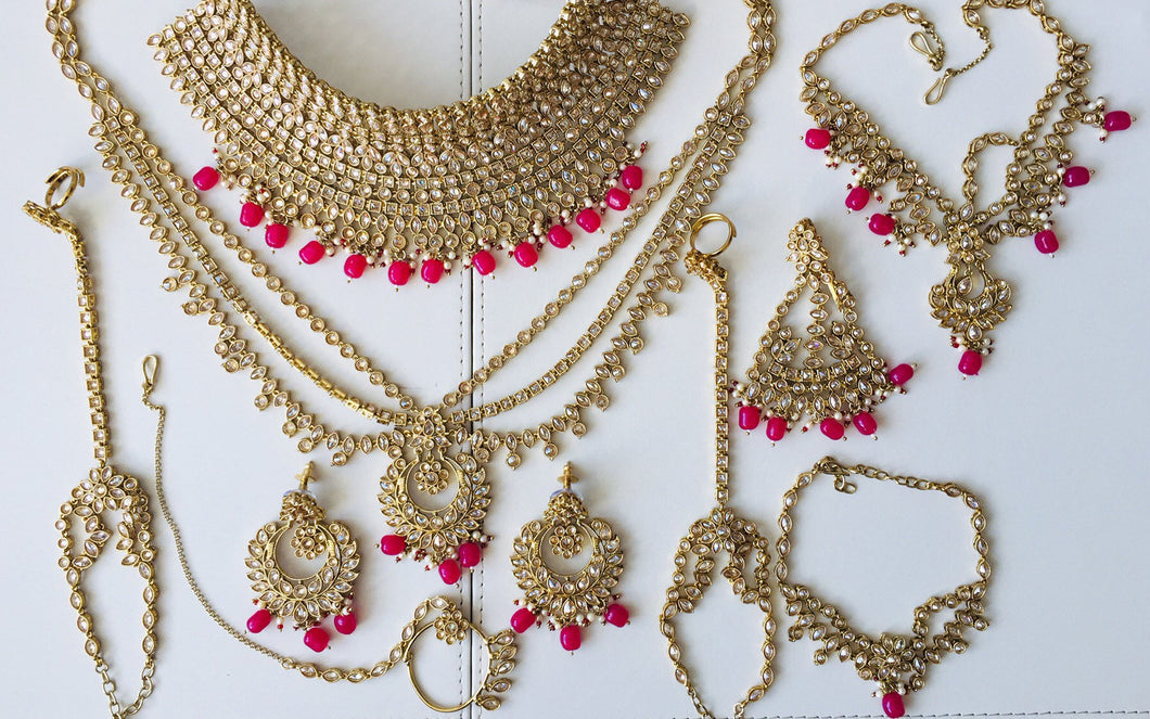 Royal Indian Bridal Wedding Jewellery full set in silver gold - LebaasOnline