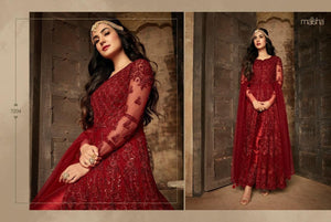 Regal Red Anarkali Dress By Maisha - LebaasOnline