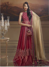 Load image into Gallery viewer, Pakistani Designer wedding suit in royal red & gold - LebaasOnline