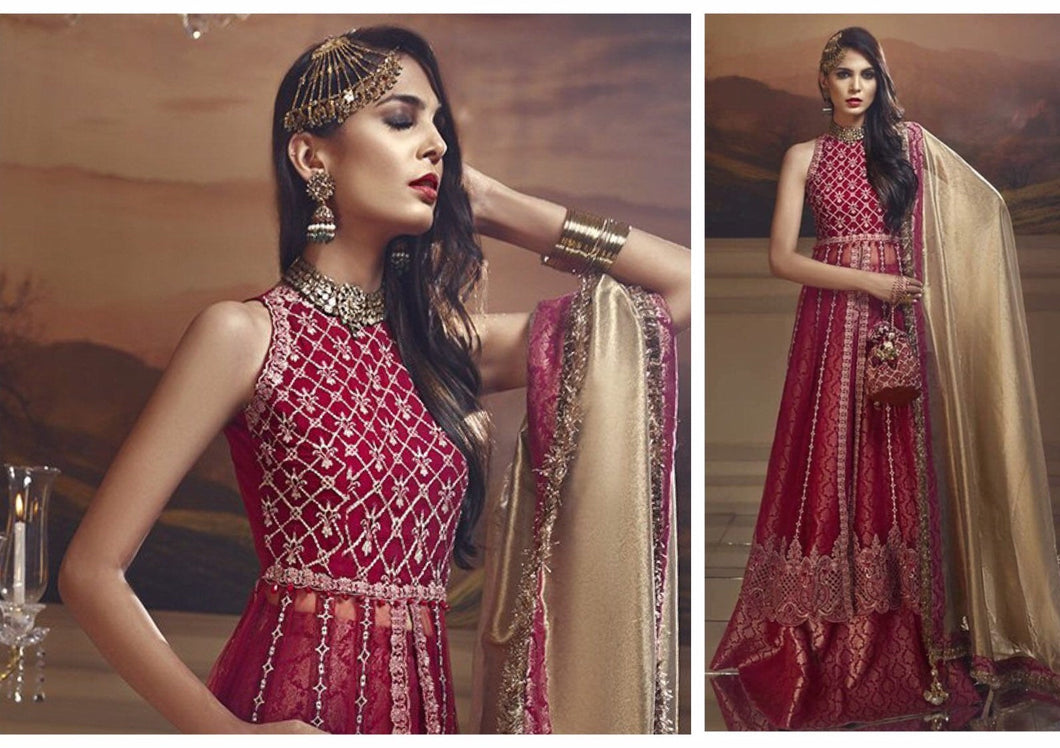 Pakistani Designer wedding suit in royal red & gold - LebaasOnline