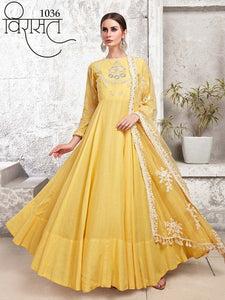 VIRASAT-Banglori Silk Party Gowns| Indian Gowns | Party Gowns| Indian dress online| Sale dresses | Anarkali Gowns for women| Bollywood dress - LebaasOnline
