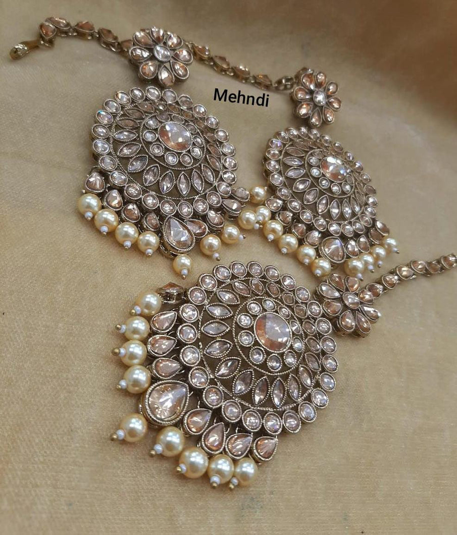 Gold plated polki Earrings & mangtikka - LebaasOnline