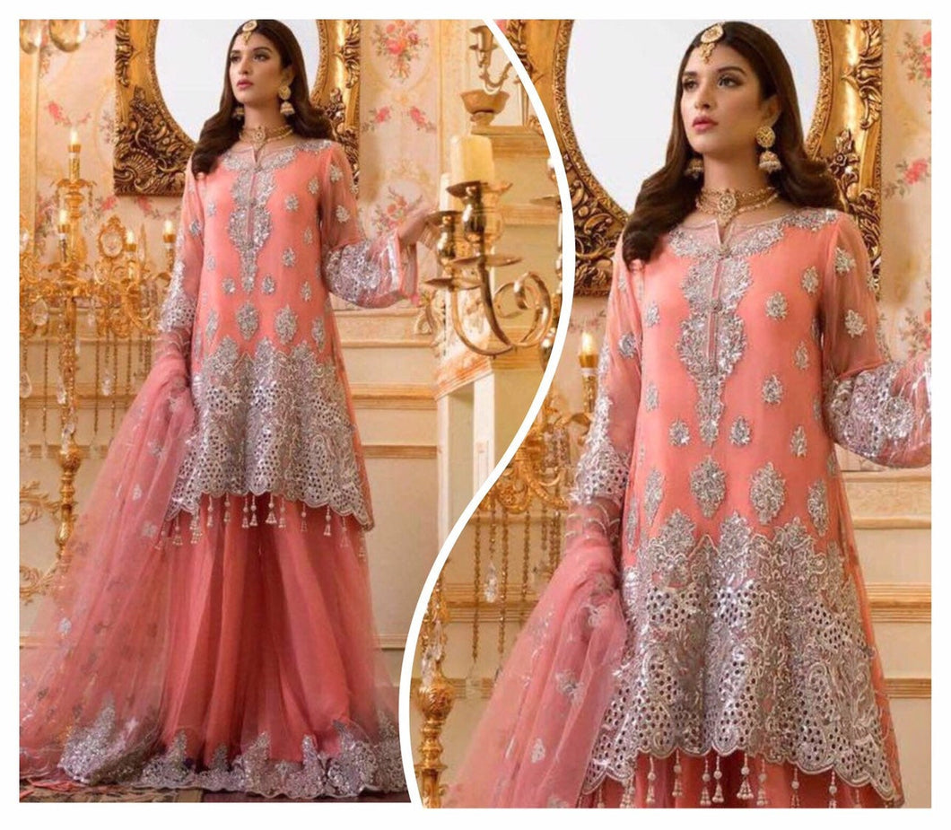 Shamrock by Maryum N Maria Embroidered Chiffon 3-Piece Suit SMM 2019 - Premium Wedding Collection| Pakistani Designer Suits - LebaasOnline