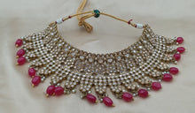 Load image into Gallery viewer, MEHNDI GOLD Bridal Jewellery Chocker set in red beads - LebaasOnline