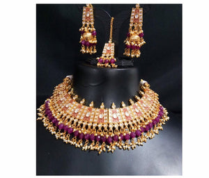 Sabyasachi Inspired Bridal Jewlry Necklace Set in Rubi, emerald and pearls colour - LebaasOnline