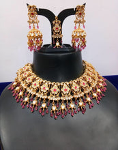 Load image into Gallery viewer, SABYASACHI Inspired-luxuriously handcrafted necklace jewellery set of REAL uncut polki kundans upon a silver foil base - LebaasOnline