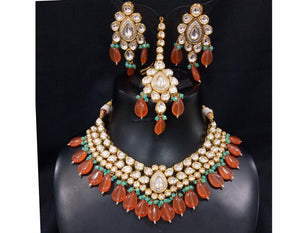 SABYASACHI Inspired-luxurious necklace jewellery set with REAL uncut polki kundans upon a silver foil base and precious beads - LebaasOnline