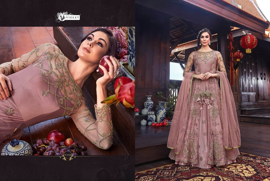 SNOWWHITE -Swagat Anarkali Suits| Indian dress| party gown|pastel pink / lilac dress| violet 2019 collection - LebaasOnline