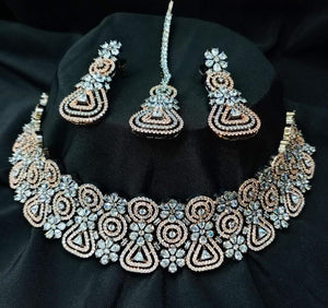 SILVER GOLD -CZ American Diamond Necklace Set| Indian Jewellery | Fine Indian Jewelry | Wedding Necklace sets| Gold plated | Earrings tikka - LebaasOnline