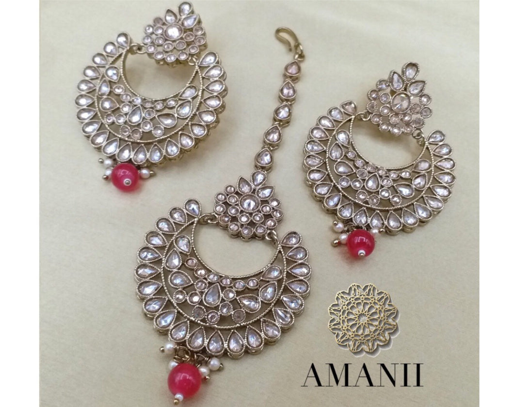 Gold plated Polki earrings and mangtikka set - LebaasOnline