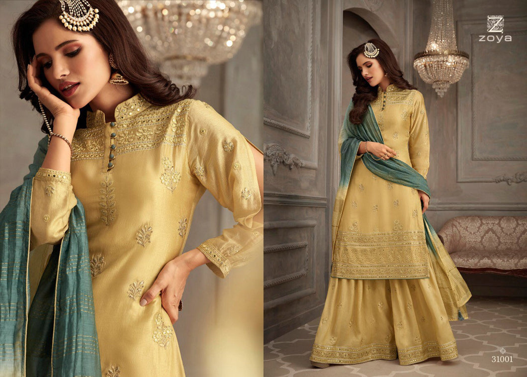 Silk Sharara Suit by Zoya Petals 2019 - LebaasOnline
