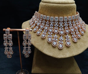 Designer American Diamond Necklace Set - LebaasOnline