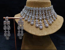 Load image into Gallery viewer, Designer American Diamond Necklace Set - LebaasOnline