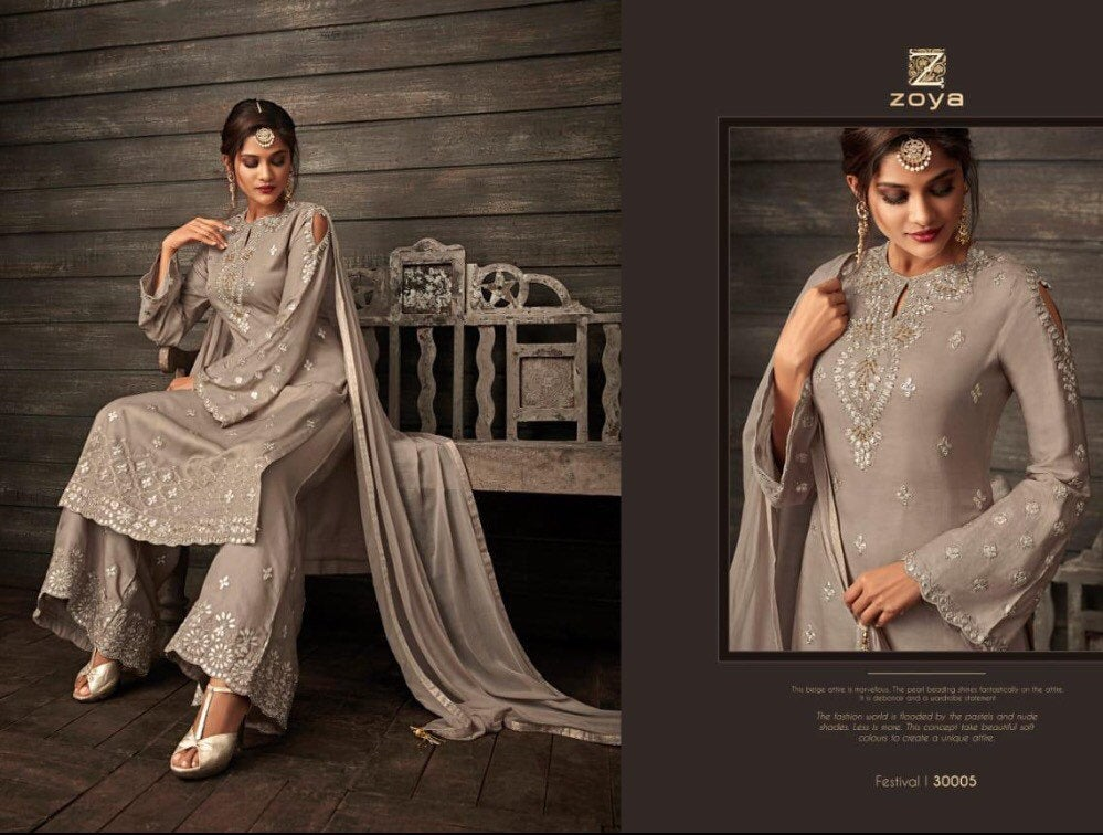 Bollywood Fashion Sharara Suit by Zoya in colours - LebaasOnline