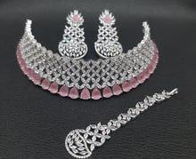 Load image into Gallery viewer, Sabyasachi Summer Jewelry inspired American Diamond Necklace| Fine jewellery- Christmas & Party jewellery. Green| Pink |Silver| mangtikka - LebaasOnline