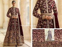 Load image into Gallery viewer, Sabyasachi Lakme Designer Dress | Indian Bridal Gown| maroon wedding dress - LebaasOnline