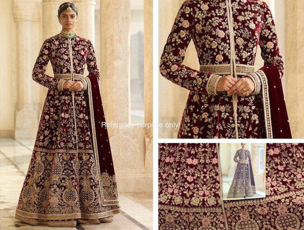 Sabyasachi Lakme Designer Dress | Indian Bridal Gown| maroon wedding dress - LebaasOnline