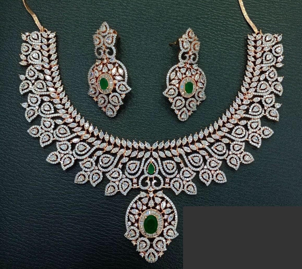 Maharani American diamond necklace Jewelry set inspired by Sabyasachi heritage collection - LebaasOnline