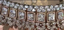 Load image into Gallery viewer, Silver & black gold  designer American Diamond Choker Set - LebaasOnline