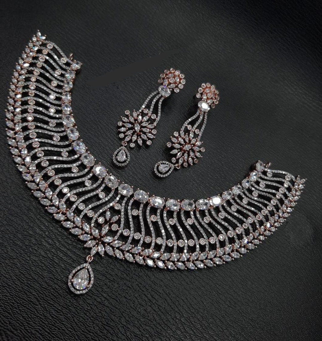 American Diamonds Necklace Set| Xmas gift Jewellery High Grade - LebaasOnline