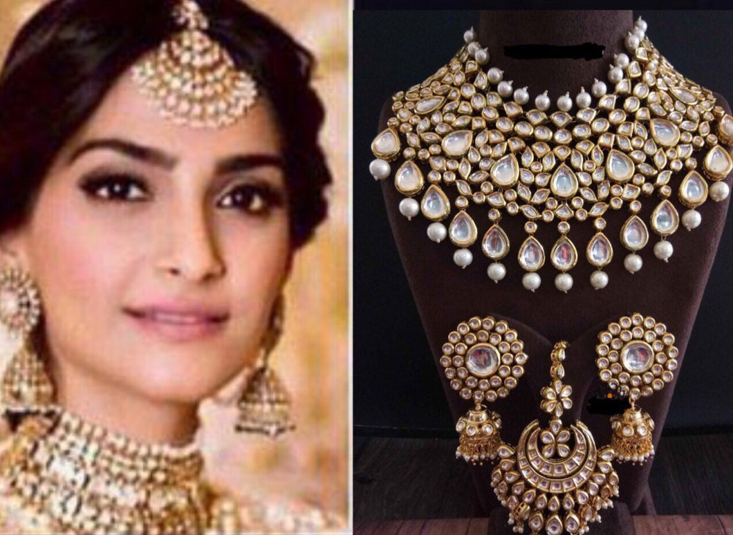 SONAM KAPOOR wedding reception jhumka kundan haar  jewellery set| big jhumka earrings| indian Bollywood jewellery Sabyasachi inspired jewlry - LebaasOnline