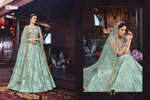Load image into Gallery viewer, SNOWWHITE -Swagat Anarkali Gown in Sea Blue And Green - LebaasOnline