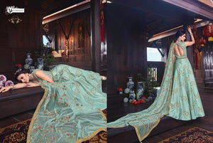 SNOWWHITE -Swagat Anarkali Gown in Sea Blue And Green - LebaasOnline