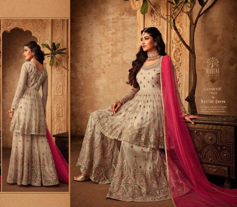 GLAMOUR by Mohini  2019 sharara style Indian  suits in silk and soft butterfly net |Indian summer wedding party/Diwali sharara dresses - LebaasOnline