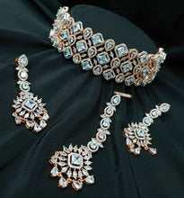 Load image into Gallery viewer, SILVER GOLD -CZ American Diamond Necklace Set| Indian Jewellery | Fine Indian Jewelry | Wedding Necklace sets| Gold plated | Earrings tikka - LebaasOnline