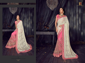 DESIGNER SAREE in trendy beautiful colours by brand MN - LebaasOnline