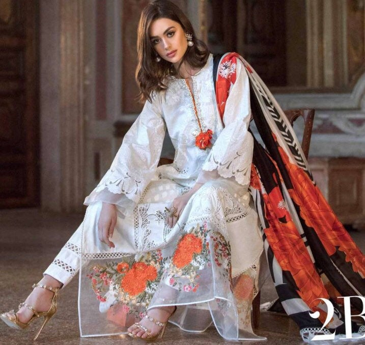 SANA SAFINAZ Luxury Chiffon 2019 /LAWN 2019 Collection -Gregio Argento| Online Sale! - LebaasOnline