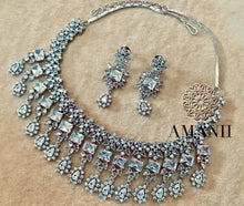 Load image into Gallery viewer, Designer Silver American Diamond Necklace Set by Amanii - LebaasOnline