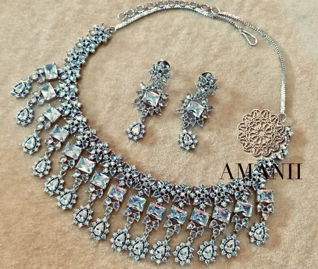 Designer Silver American Diamond Necklace Set by Amanii - LebaasOnline