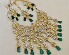 Load image into Gallery viewer, SABYASACHI INSPIRED-High Gold plated Indian jewellery chocker necklace haar Set with uncut polki kundan and pearls with emerald green beads - LebaasOnline