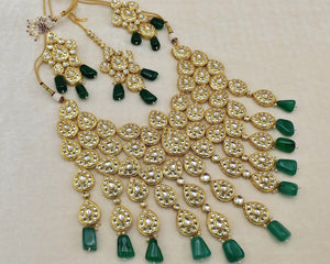 SABYASACHI INSPIRED-High Gold plated Indian jewellery chocker necklace haar Set with uncut polki kundan and pearls with emerald green beads - LebaasOnline
