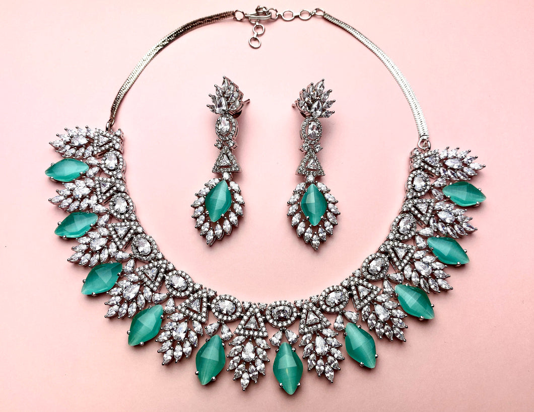 Silver American Diamond Jewellery Set with Aqua Blue Stones - LebaasOnline