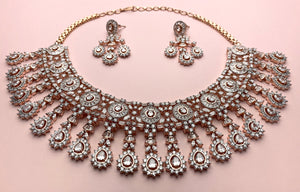 Rose Gold and Champagne Pink American Diamond Set - LebaasOnline