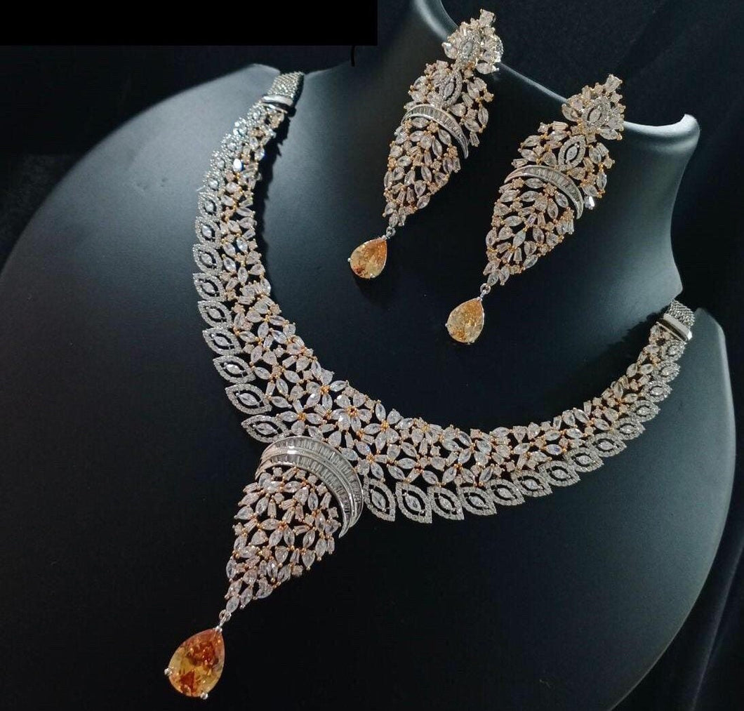 Sabyasachi Summer Jewelry inspired American Diamond Necklace| Fine jewellery- Christmas & Party jewellery| silver gold | rosegold - LebaasOnline