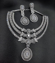Load image into Gallery viewer, Sabyasachi Summer Jewelry inspired American Diamond Necklace| Fine jewellery- Christmas & Party gems jewellery| silver gold | rosegold ruby| - LebaasOnline