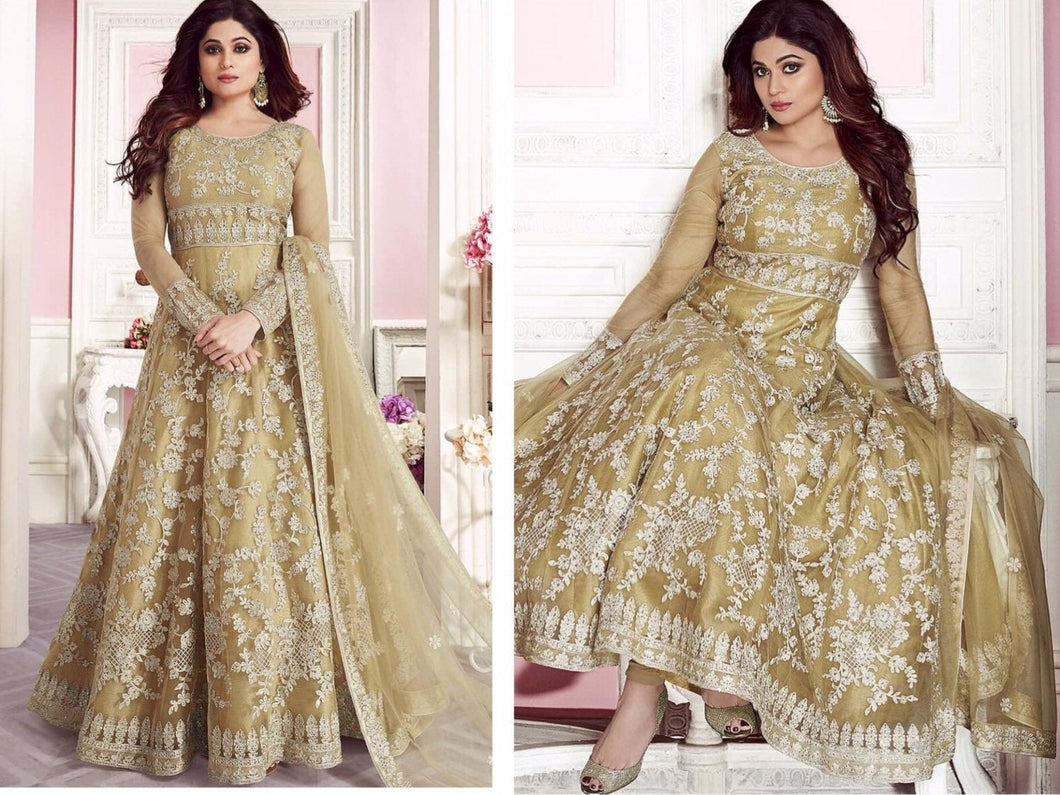 Paradise Formal Dresses in Pastel green blue and beige colours | Designer Indian Gowns - LebaasOnline
