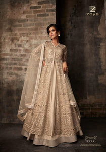 Designer Zoya Anarkali Lehenga  in sophisticated golden beige - LebaasOnline