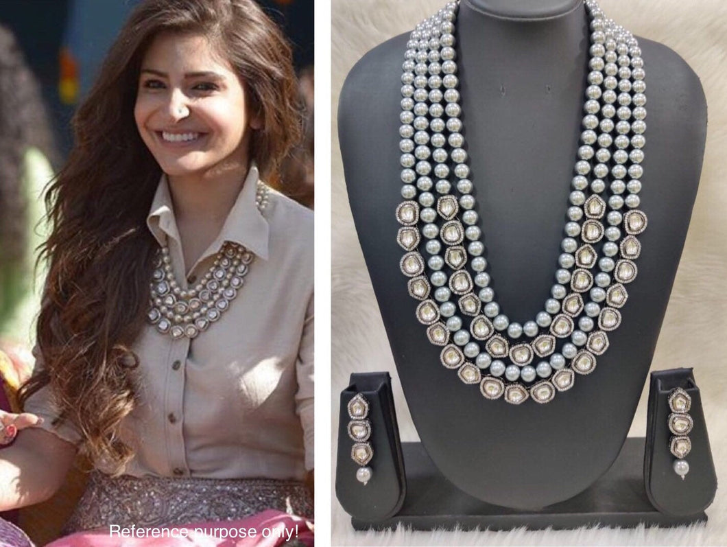 Anushka Sharma Wedding & Mehndi Party Inspired jewellery Necklace Set - LebaasOnline