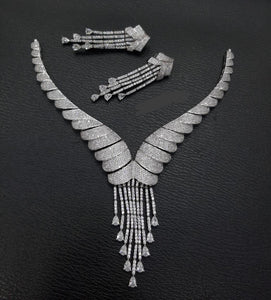 Pendant Necklace American Diamond Jewellery Set - LebaasOnline