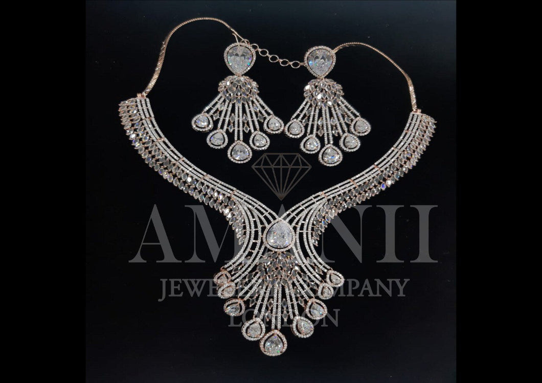 Top Grade American diamond  set with chandelier earrings - LebaasOnline
