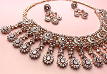 Load image into Gallery viewer, Rose Gold and Champagne Pink American Diamond Set - LebaasOnline