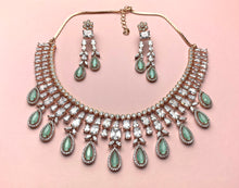 Load image into Gallery viewer, American Diamond Jewellery in Turquoise & Rose Gold - LebaasOnline