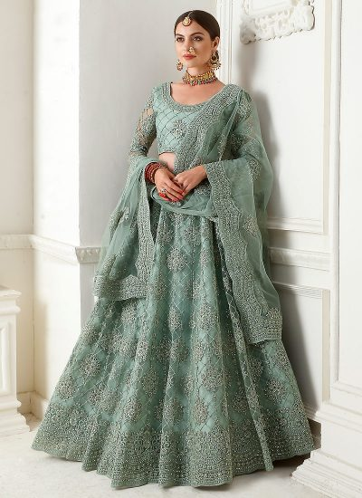 Mint Green Bridal Embroidered Lehenga by Alizeh - LebaasOnline