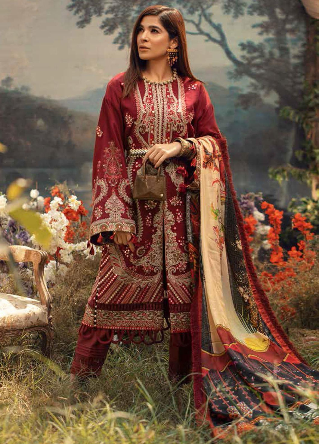 MARYAM HUSSAIN Winter Shawl Collection 2020-Fauna D04 most popular Pakistani outfits for evening wear and winter season in the UK, USA and France. These 3 pc unstitched, stitched & READY MADE Indian & Pakistani Suits are made from LAWN khaddar. Shop Designer Salwar Kameez by Maryam Hussain on SALE price at Lebaasonline